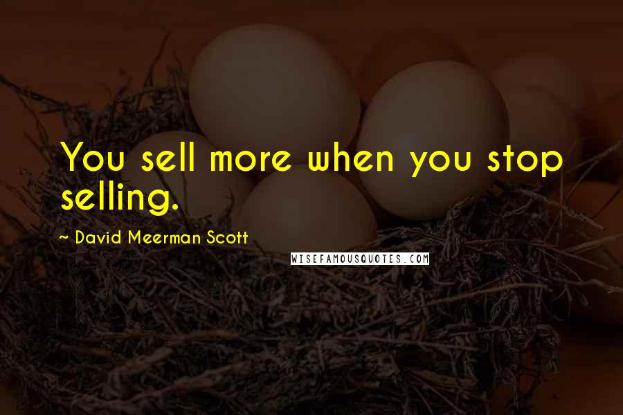 David Meerman Scott quotes: You sell more when you stop selling.