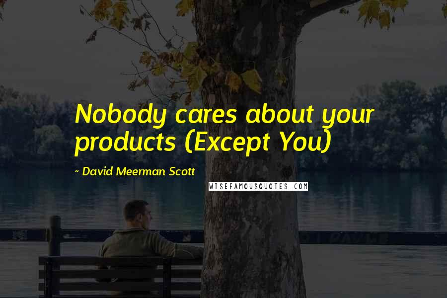 David Meerman Scott quotes: Nobody cares about your products (Except You)