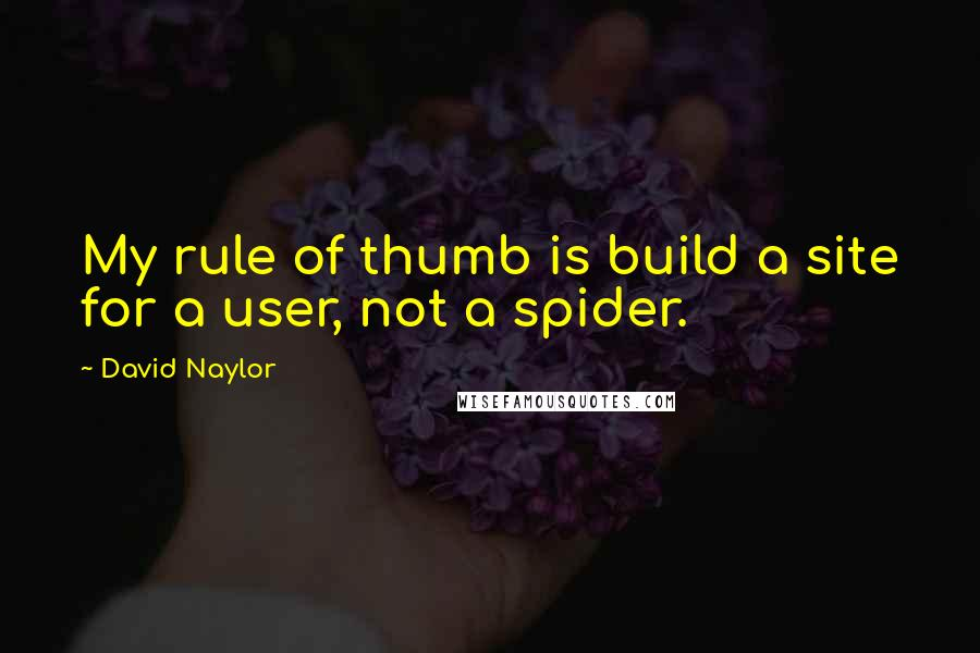 David Naylor quotes: My rule of thumb is build a site for a user, not a spider.