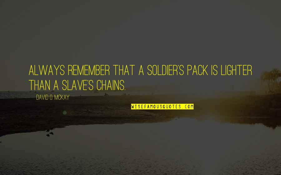 David O'leary Quotes By David O. McKay: Always remember that a soldier's pack is lighter