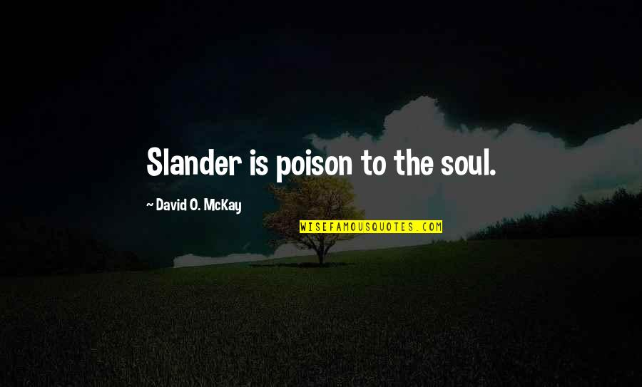David O'leary Quotes By David O. McKay: Slander is poison to the soul.