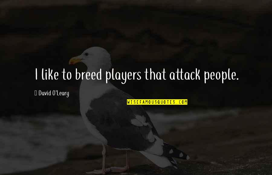 David O'leary Quotes By David O'Leary: I like to breed players that attack people.