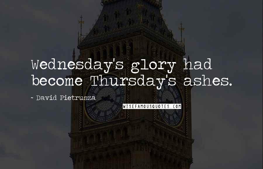 David Pietrusza quotes: Wednesday's glory had become Thursday's ashes.