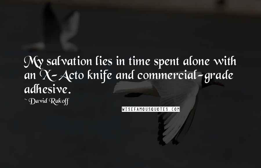 David Rakoff quotes: My salvation lies in time spent alone with an X-Acto knife and commercial-grade adhesive.