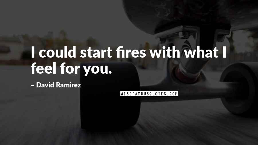 David Ramirez quotes: I could start fires with what I feel for you.