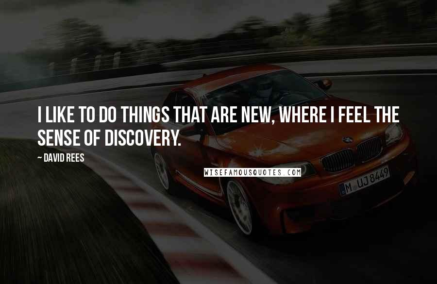 David Rees quotes: I like to do things that are new, where I feel the sense of discovery.