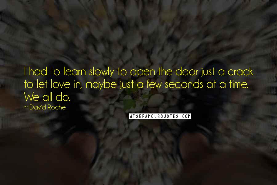 David Roche quotes: I had to learn slowly to open the door just a crack to let love in, maybe just a few seconds at a time. We all do.
