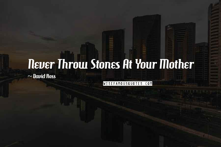 David Ross quotes: Never Throw Stones At Your Mother