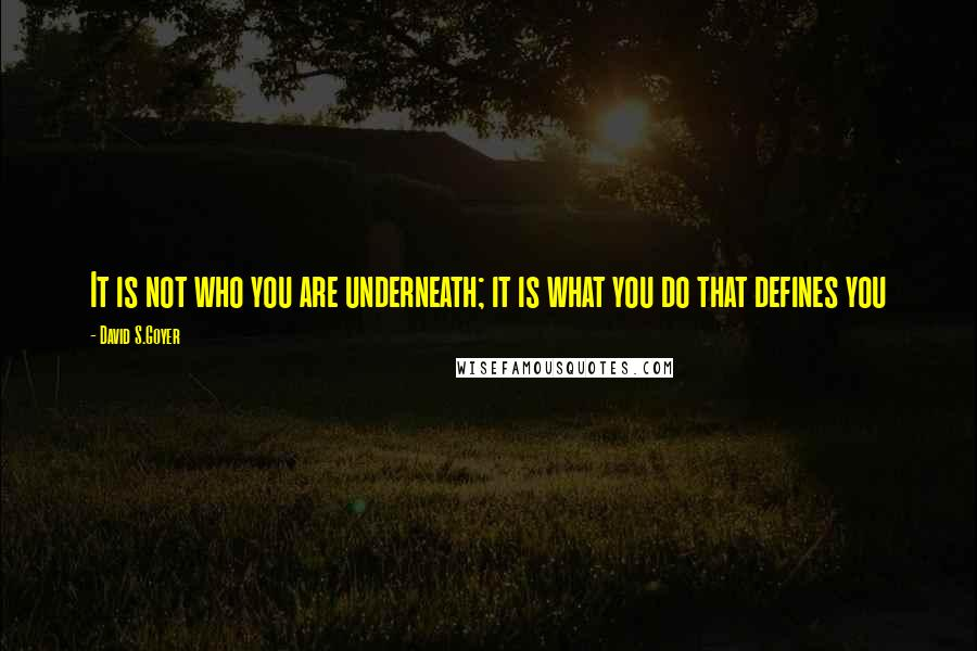 David S.Goyer quotes: It is not who you are underneath; it is what you do that defines you