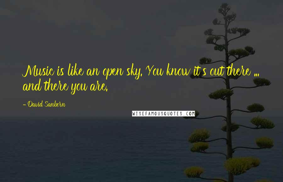 David Sanborn quotes: Music is like an open sky. You know it's out there ... and there you are.