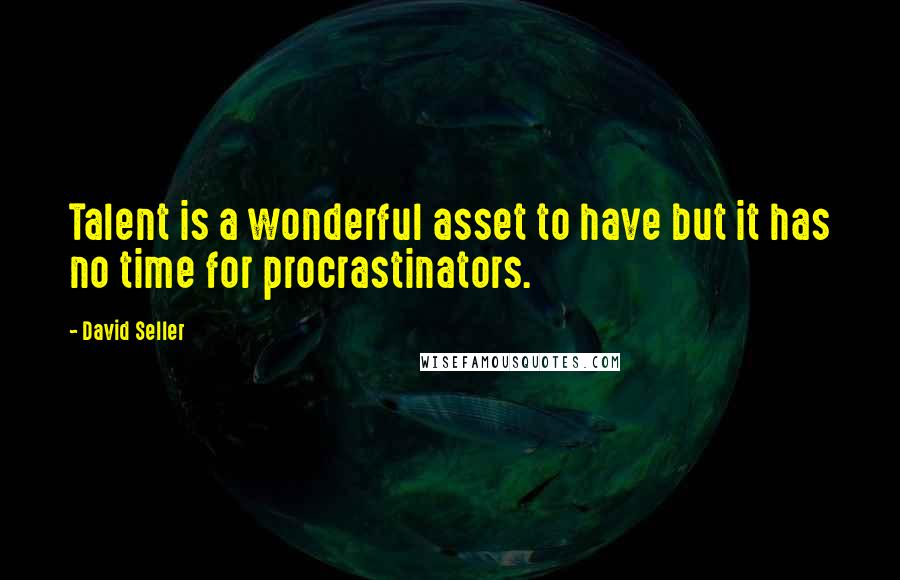 David Seller quotes: Talent is a wonderful asset to have but it has no time for procrastinators.