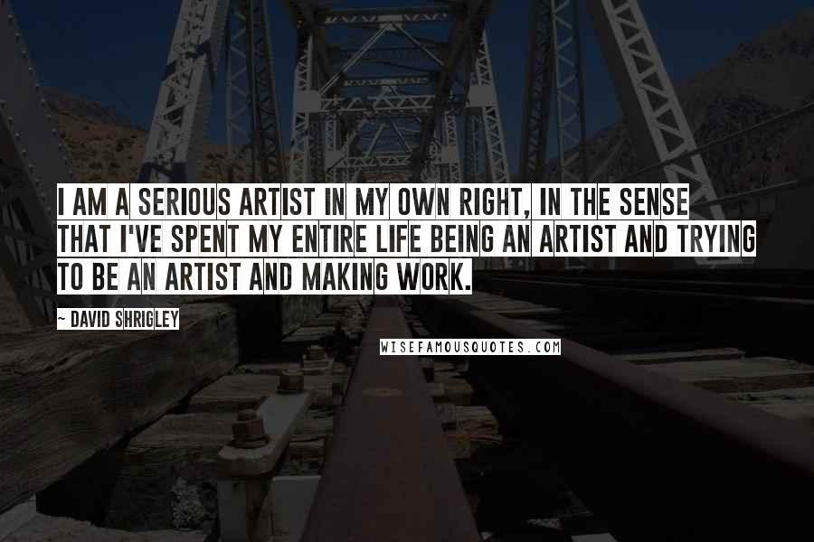 David Shrigley quotes: I am a serious artist in my own right, in the sense that I've spent my entire life being an artist and trying to be an artist and making work.