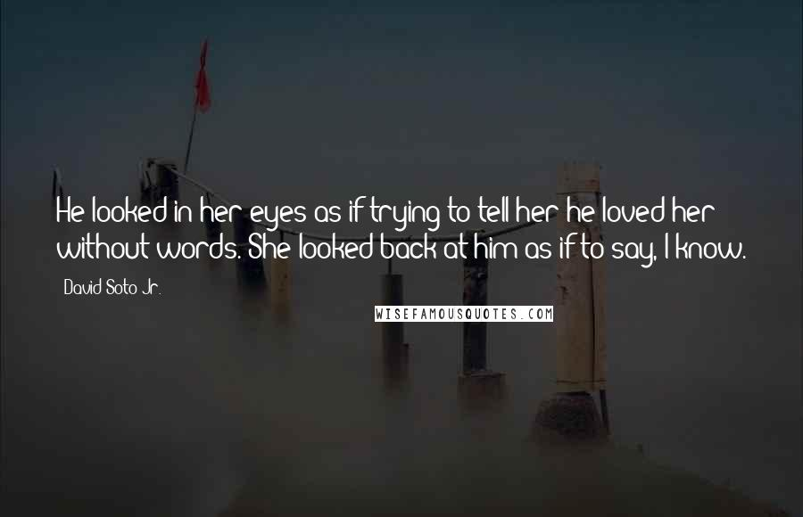 David Soto Jr. quotes: He looked in her eyes as if trying to tell her he loved her without words. She looked back at him as if to say, I know.