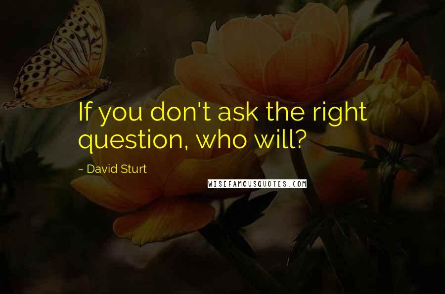 David Sturt quotes: If you don't ask the right question, who will?