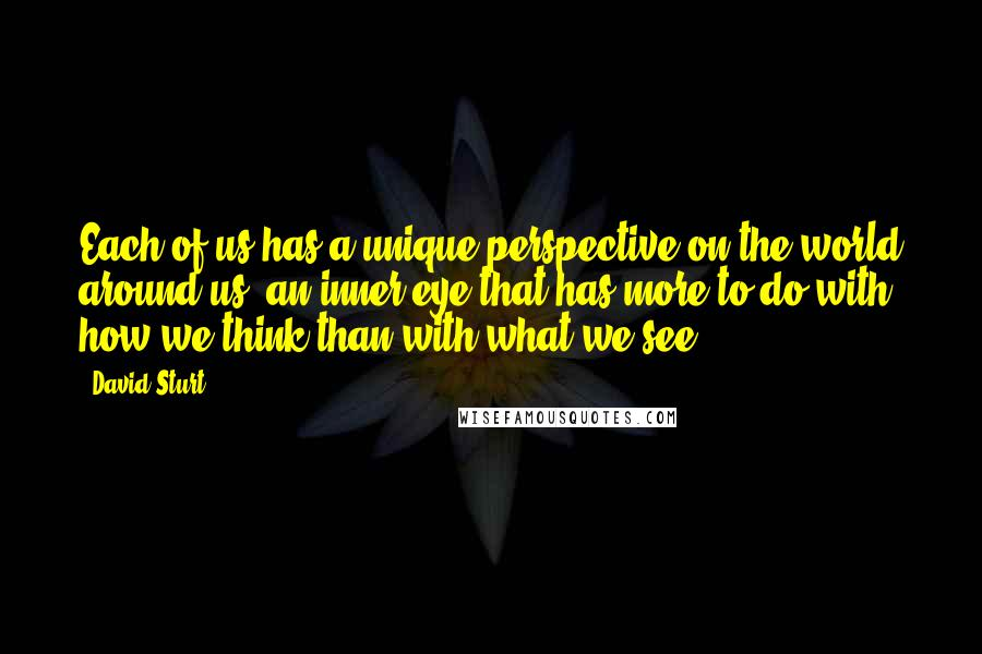 David Sturt quotes: Each of us has a unique perspective on the world around us, an inner eye that has more to do with how we think than with what we see.