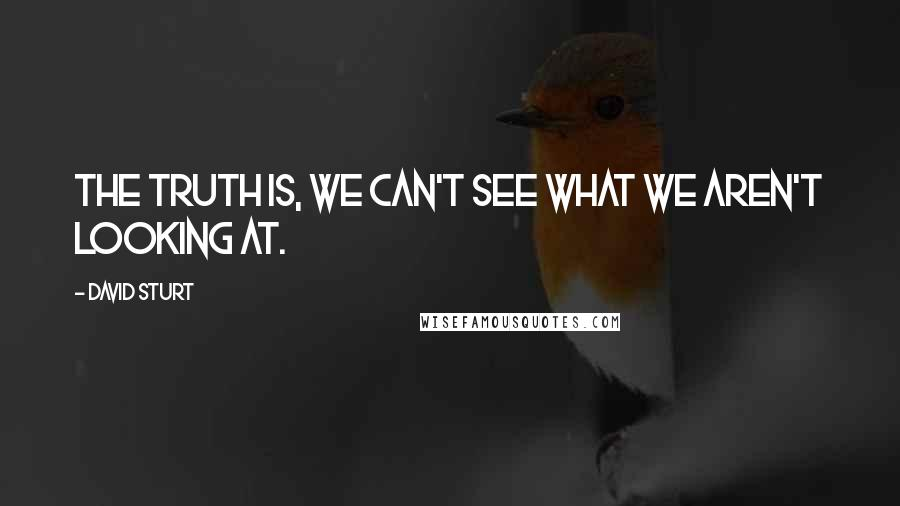 David Sturt quotes: The truth is, we can't see what we aren't looking at.