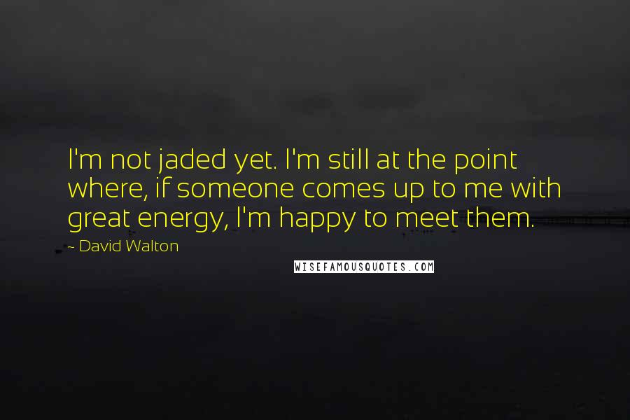 David Walton quotes: I'm not jaded yet. I'm still at the point where, if someone comes up to me with great energy, I'm happy to meet them.