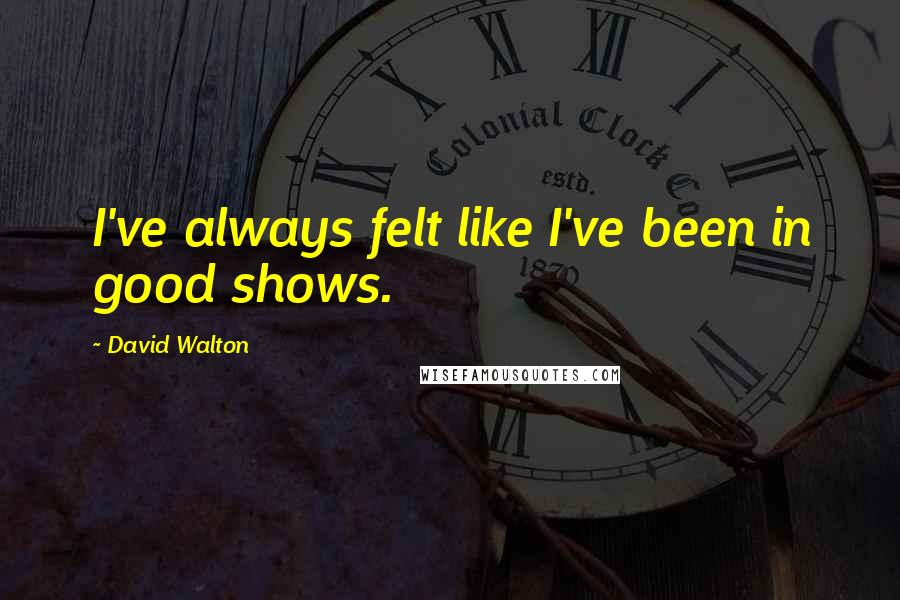 David Walton quotes: I've always felt like I've been in good shows.