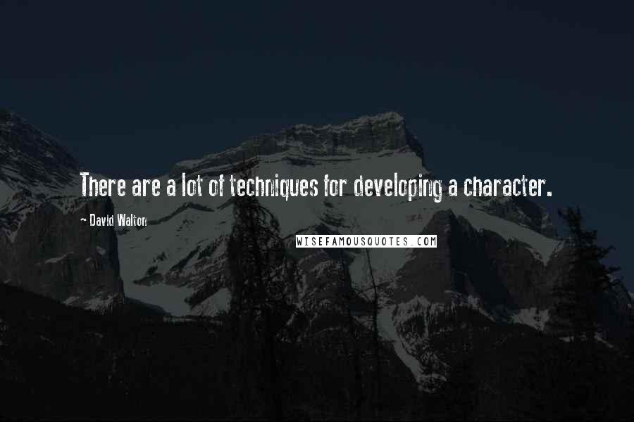 David Walton quotes: There are a lot of techniques for developing a character.