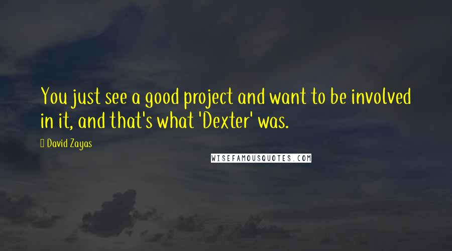 David Zayas quotes: You just see a good project and want to be involved in it, and that's what 'Dexter' was.