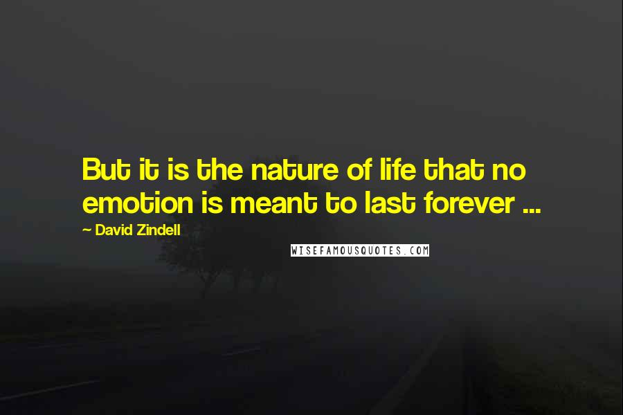 David Zindell quotes: But it is the nature of life that no emotion is meant to last forever ...