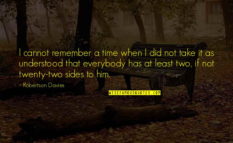 Davies Quotes By Robertson Davies: I cannot remember a time when I did