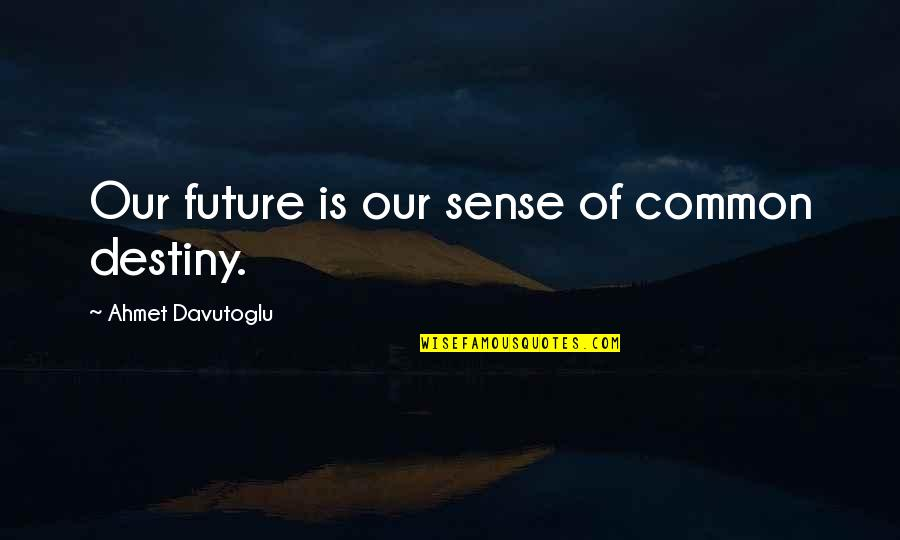 Davutoglu Quotes By Ahmet Davutoglu: Our future is our sense of common destiny.