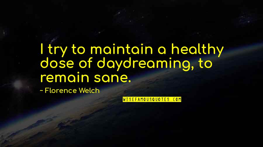 Daydreaming Quotes By Florence Welch: I try to maintain a healthy dose of