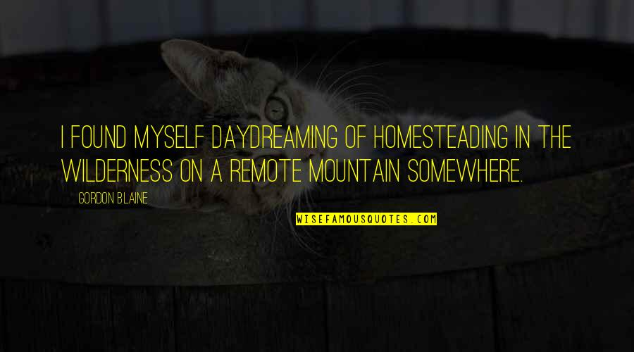 Daydreaming Quotes By Gordon Blaine: I found myself daydreaming of homesteading in the