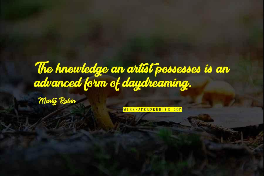 Daydreaming Quotes By Marty Rubin: The knowledge an artist possesses is an advanced