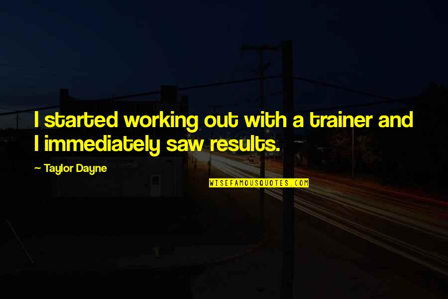 Dayne Quotes By Taylor Dayne: I started working out with a trainer and
