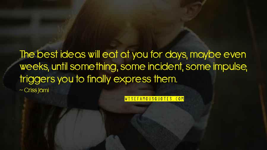 Days Until Quotes By Criss Jami: The best ideas will eat at you for