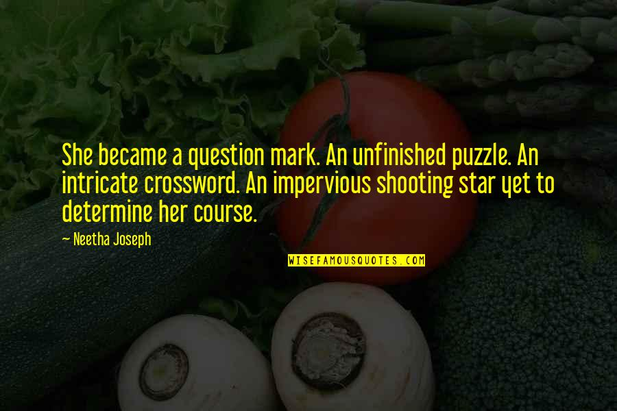 Deadly Unna Family Quotes By Neetha Joseph: She became a question mark. An unfinished puzzle.