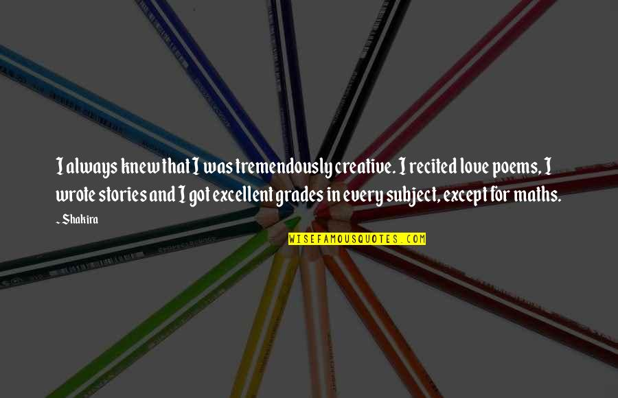 Dealine Quotes By Shakira: I always knew that I was tremendously creative.