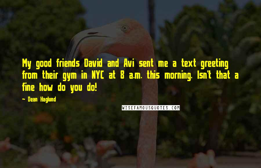Dean Haglund quotes: My good friends David and Avi sent me a text greeting from their gym in NYC at 8 a.m. this morning. Isn't that a fine how do you do!