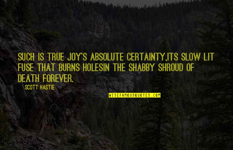 Death And Dying Spiritual Quotes By Scott Hastie: Such is true joy's absolute certainty,Its slow lit