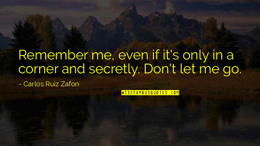 Death And Memories Quotes By Carlos Ruiz Zafon: Remember me, even if it's only in a