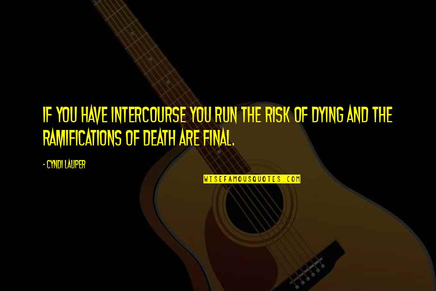 Death Is Not Final Quotes By Cyndi Lauper: If you have intercourse you run the risk