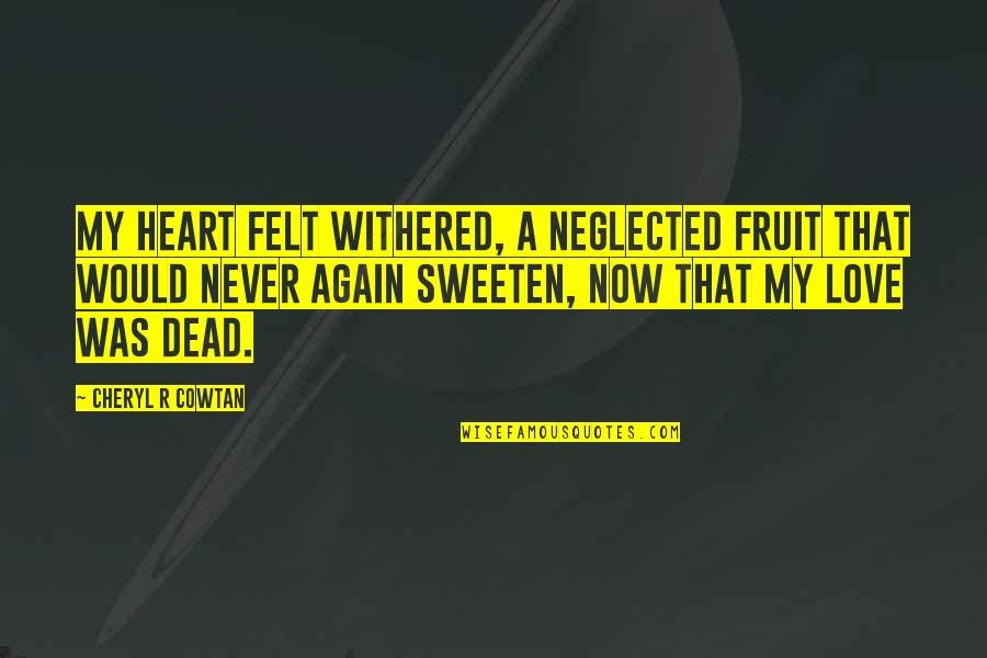 Death Loss Grief Quotes By Cheryl R Cowtan: My heart felt withered, a neglected fruit that