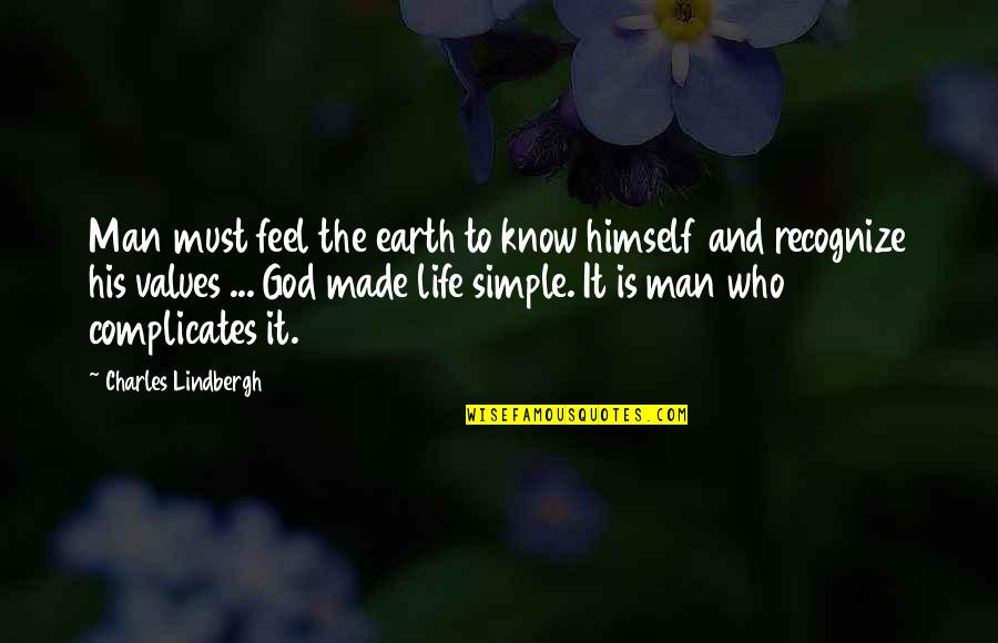 Death Of A Friend Bible Quotes By Charles Lindbergh: Man must feel the earth to know himself