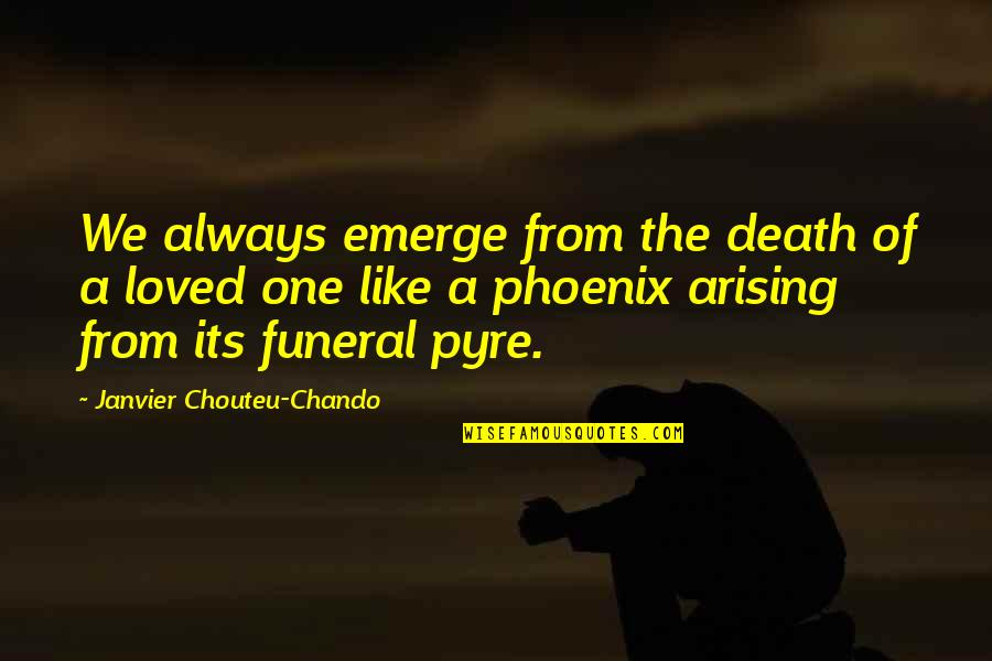 Death Of Family Quotes By Janvier Chouteu-Chando: We always emerge from the death of a