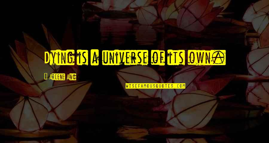Death Poetry And Quotes By Arlene Ang: Dying is a universe of its own.