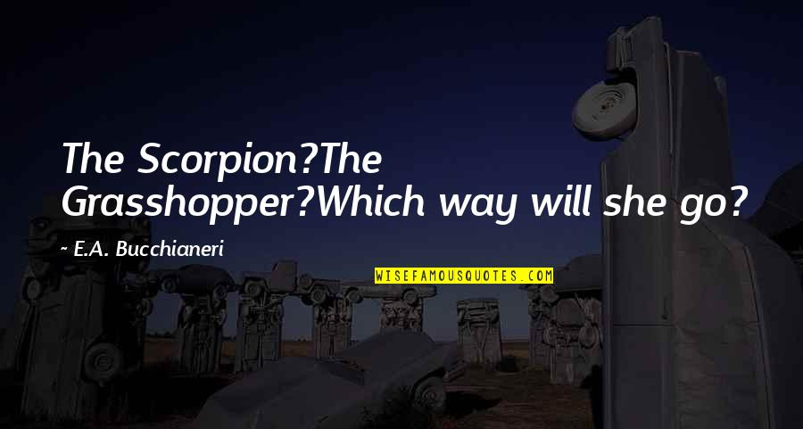 Death Poetry And Quotes By E.A. Bucchianeri: The Scorpion?The Grasshopper?Which way will she go?