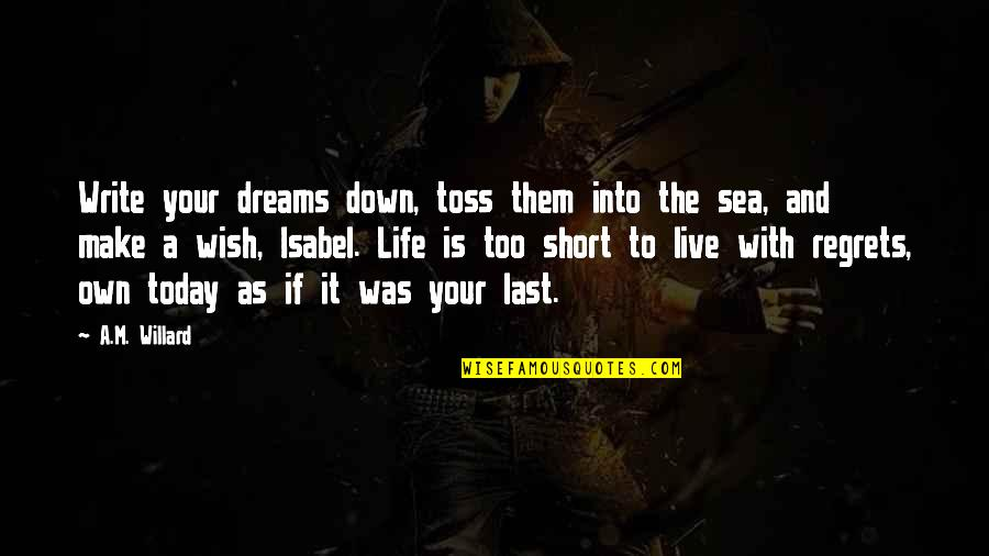 Death Wish Quotes By A.M. Willard: Write your dreams down, toss them into the