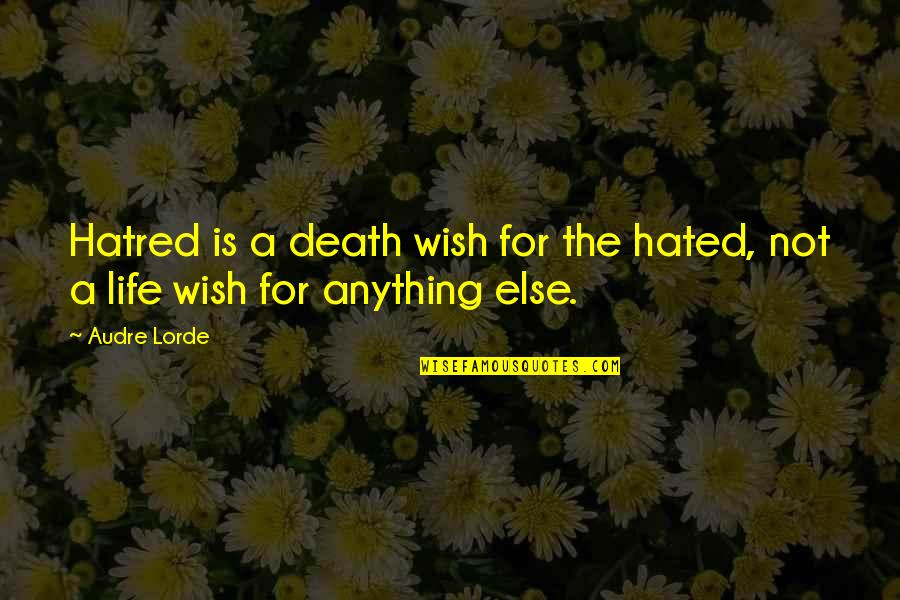 Death Wish Quotes By Audre Lorde: Hatred is a death wish for the hated,