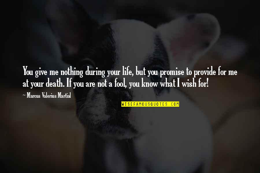 Death Wish Quotes By Marcus Valerius Martial: You give me nothing during your life, but