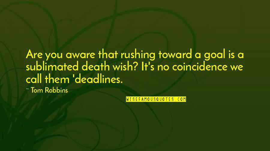 Death Wish Quotes By Tom Robbins: Are you aware that rushing toward a goal