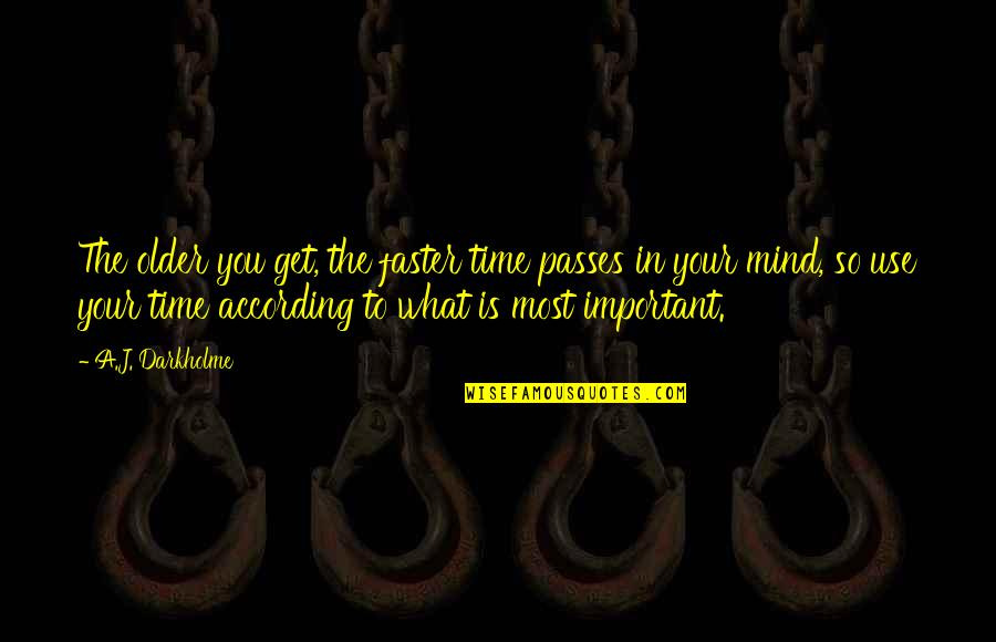 Deathbed Quotes By A.J. Darkholme: The older you get, the faster time passes