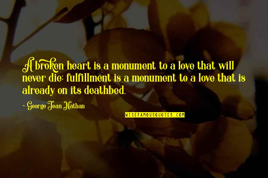 Deathbed Quotes By George Jean Nathan: A broken heart is a monument to a