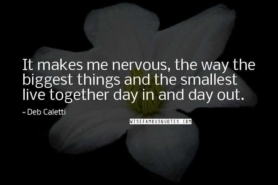 Deb Caletti quotes: It makes me nervous, the way the biggest things and the smallest live together day in and day out.